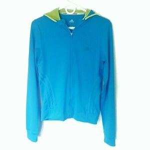 Adidas Track Jacket Blue Green Small Striped